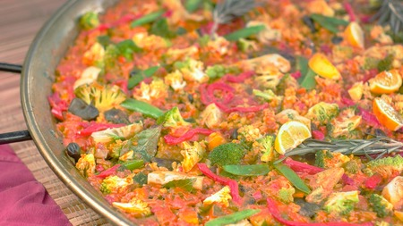 Huge pan with freshly cooked fully vegan meat