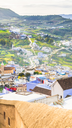 high up: High up overview of Chefchaouen traditional blue city