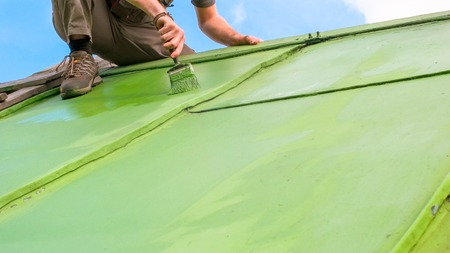 Adult caucasian man sitting on the top and painting the roof