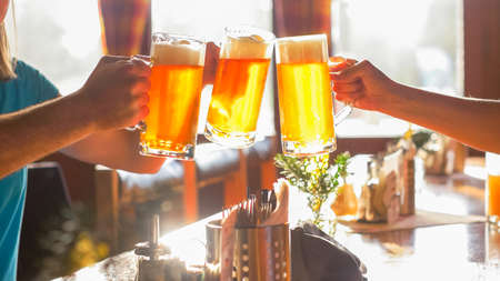Friends lifting beer glass and clinking in the pub