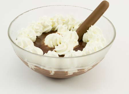 Cream with chocolate and biscuit photo
