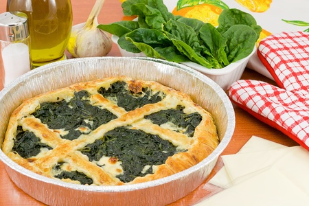 spinach pie pan Stock Photo