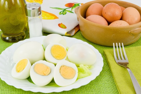 boiled eggs with shell and open Stok Fotoğraf