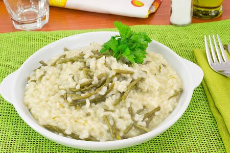 risotto with wild asparagus photo