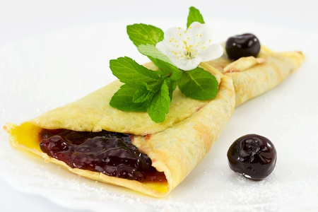 crepes with black cherry jam
