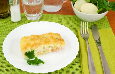 Piece of cake baked potatoes with ham and cheese Stock Photo - 13170629
