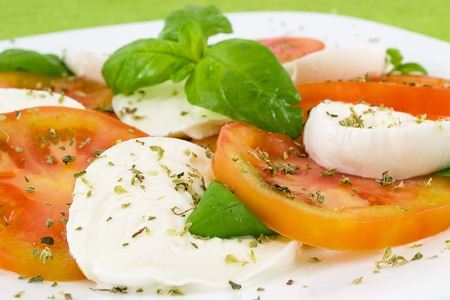 caprese with tomato, mozzarella and basil