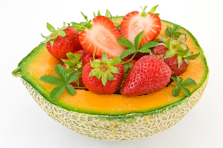 melon basket with strawberries