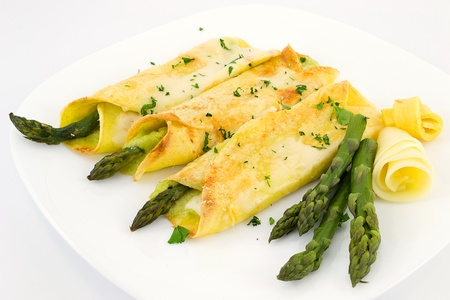 crepes with asparagus Imagens