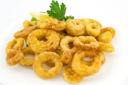 fried calamari and lemon photo