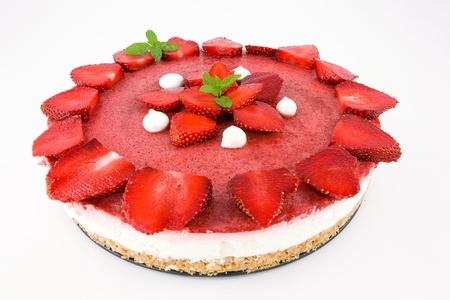 cheesecake met yoghurt en aardbeien Stockfoto