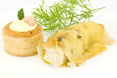 fillet of cod with potatoes  photo