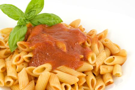 penne with tomato sauce and basil Stock Photo - 14442892