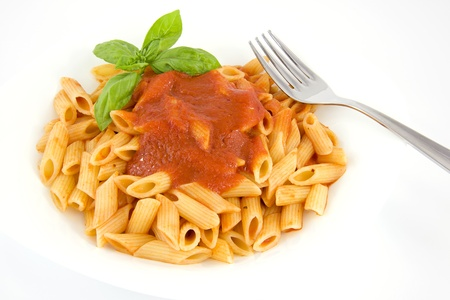 penne with tomato sauce and basil Stock Photo - 14442884