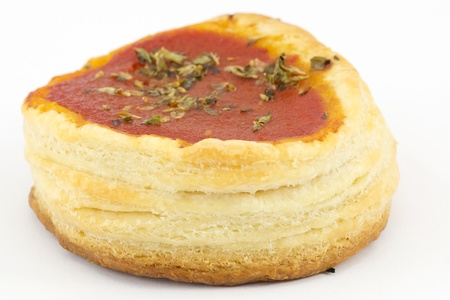 puff pastry pizzas with tomatoes  photo