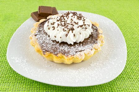 sugar veil: Chocolate and cream tart Stock Photo