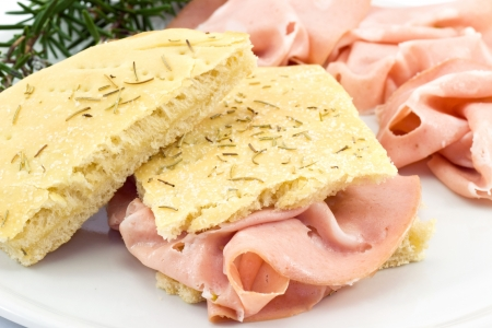 focaccia with mortadella photo