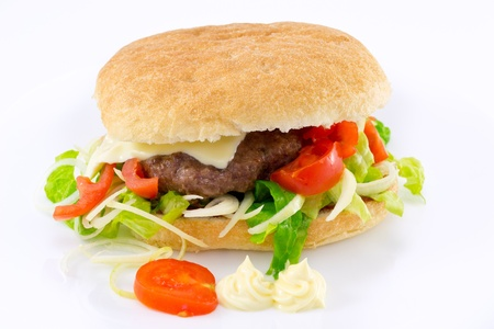 sandwich with hamburger photo