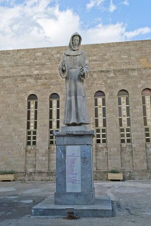 st  francis: Statue of St  Francis of Assisi, Rhodes-Greece Stock Photo