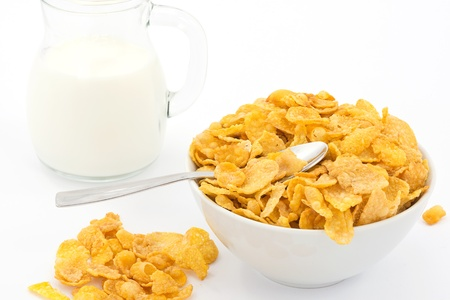 cornflakes: milk and cornflakes Stock Photo