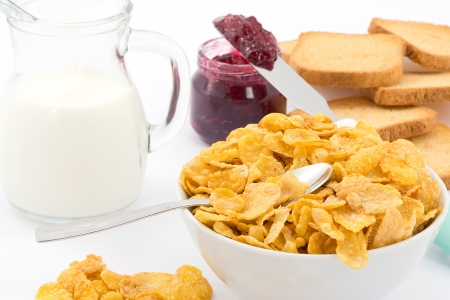 cornflakes: milk and cornflakes Stock Photo