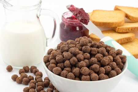 milk and chocolate cereal, breakfast Stock Photo - 16449567