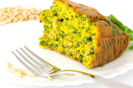cake with spinach and pine nuts Stock Photo