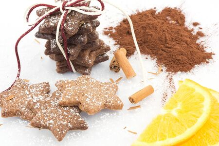 cinnamon cookies with cocoa and orange zest  photo