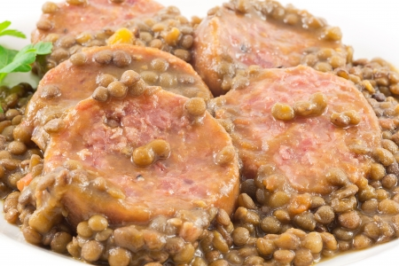 trotter with lentils Stock Photo