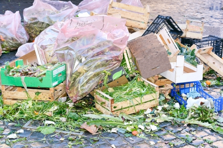 soil pollution: garbage left on the street Stock Photo
