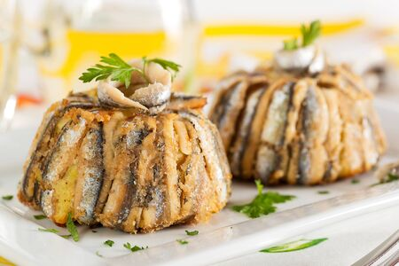anchovy: anchovy pie  Stock Photo