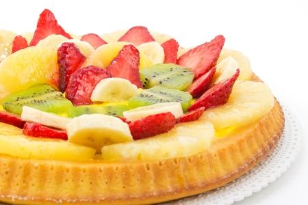 tart with cream and fresh fruit photo