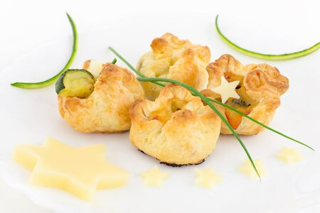 puff pastry stuffed with zucchini and cheese photo