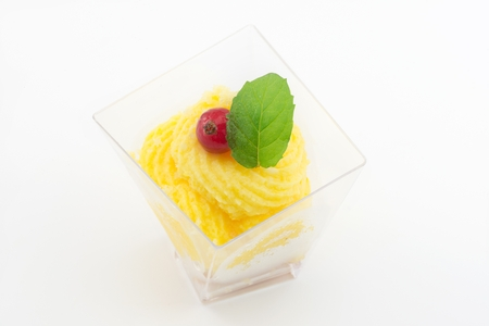 custard with red currants