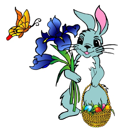 easter hare with flowers and basket