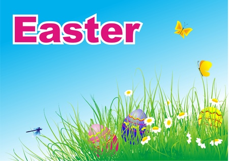 easter eggs on green grass Ilustrace