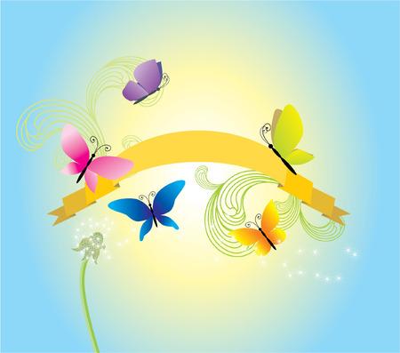 summer sky scroll Vector