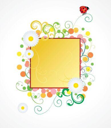 ladybird and daisy frame Stock Vector - 9298234