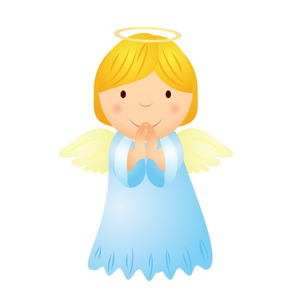 cartoon angel girl with magic wand Vector