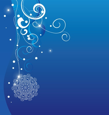 blue christmas background with abstract white snowflakes Vector