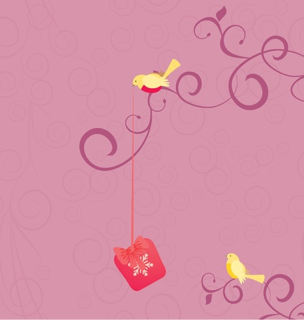 cartoon birds with christmas gift on pink flourishes background illustration Vector