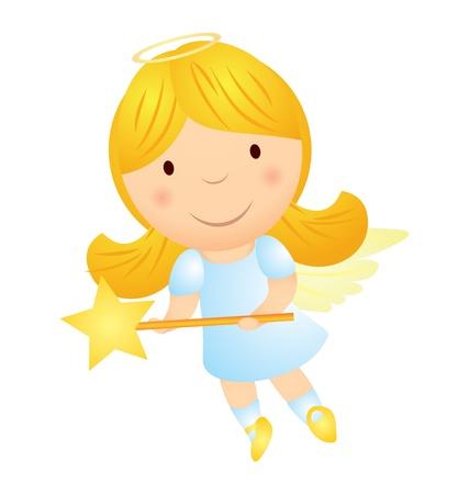 angeles bebe: niña de dibujos animados ángel con varita mágica Vectores