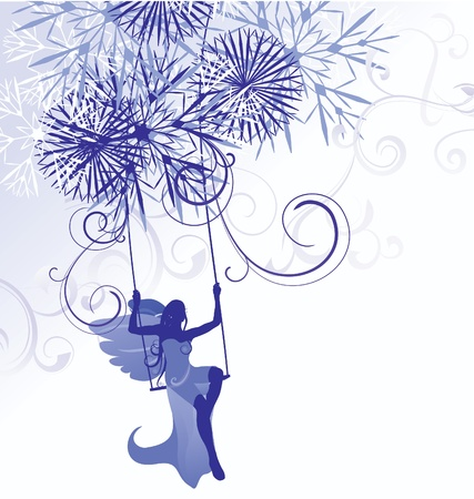 snow queen: christmas winter blue illustration of angel woman on swings with detailed snowflakes isolated on white