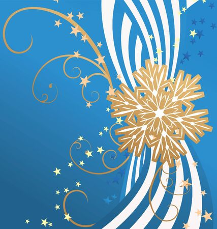 golden detailed snowflake on striped blue background christmas illustration Vector
