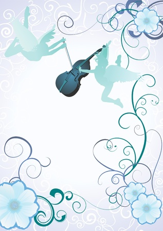 children of heaven: angels silhouettes with violin on blue background with flower frame vector Stock Photo