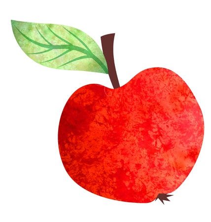 watercolor bright red apple illustration isolated on white