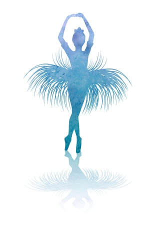 dancing woman silhouette isolated on white backgound watercolor illustration illustration
