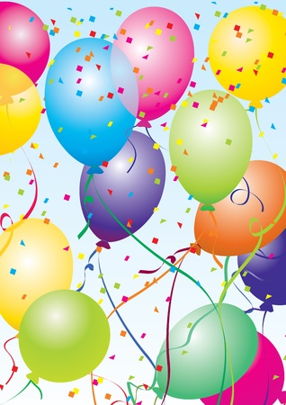 colorful vector baloons flying in the blue sky Stock Photo - 13270673