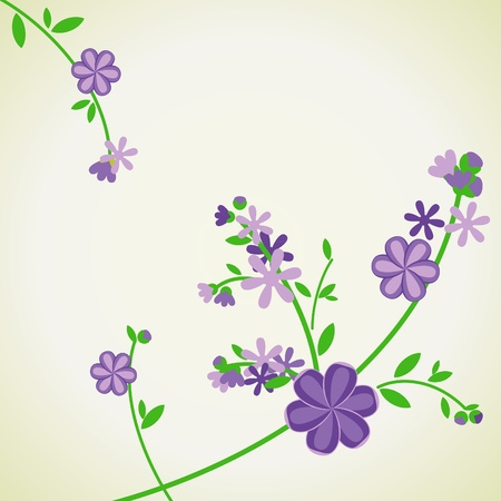 abstract vector blue flowers on light green backdrop photo