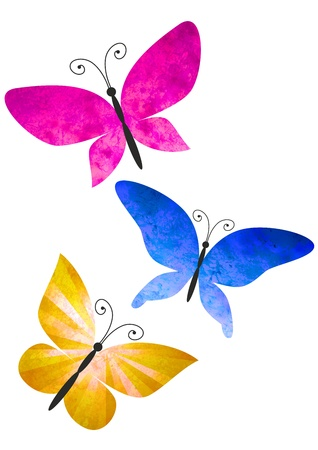 butterfly and women: colorful butterflies isolated on white watercolors illustration Stock Photo